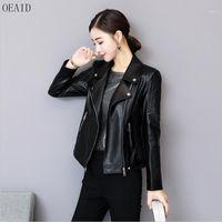 Оад мотоцикл кожаная одежда женщина 2018 новая кожаная куртка женщины короткая тонкая весна и осень пальто женщины black1