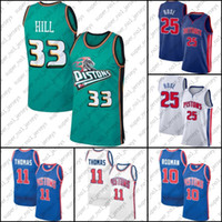 "Début ""Piston"" Jersey Dennis 10 Rodman Jersey Isiah 11 Thomas Jerseys Derrick 25 Basketball Rose Jersey Grant 33 Hill Jerseys"