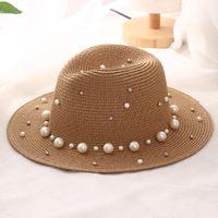Sombrero de pilar de perlas británica de verano sombrero de paja sombrero de sombrero de sol de sol sombrero de jazz sombrero