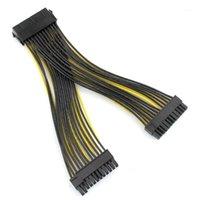 Computerkabel-Anschlüsse 24P 20 + 4-Pin Dual-PSU-Stromversorgung Kabel 18AWG 20cm ATX-Motherboard-Mainboard-Adapter-Anschluss Bergbau Extensio