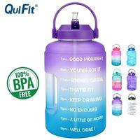 Quifit 2.5L 3.78L Kunststoff breiter Mund große Trinkwasserflaschen mit Stroh BPA frei Sport Fitness Tourismus Fitnessstudio Reise einzigartiger Artikel 201110