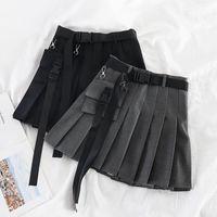Frauen frühling gefaltete röcke a line mini rock breite bein outwear sachen sexy mit taschen