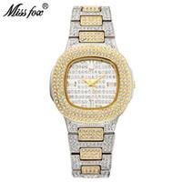 MissFox bussiness relógio quartzo famoso marca bu diamante relógio de aço inoxidável relógio de relógio dourados relógio de desenhador senhoras