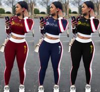 Женщины трексуит с длинным рукавом футболка леггинсы женские спортивные досуды письмо напечатаны две части наборов 2020 новых дизайнеров трексуита одежды