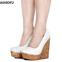 Ashiofu el yapımı bayan wadge topuk pompaları hava-örgü slip-on parti balo elbise ayakkabı kulübü moda mahkemesi ayakkabı1