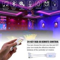 Alta qualidade 5m LED tira luzes rgb tiras fita luz 150 LEDs SMD5050 Waterproof Bluetooth Controller + 24key controle remoto