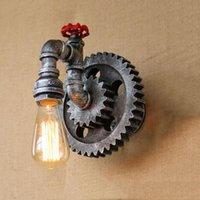Wandleuchte Industrie Vintage Retro Loft Eisen Holz Gear Rad Licht Studie Showroom Wohnzimmer Bar Club Cafe BH Sconce