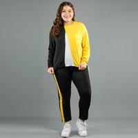 Doib 여성 스포츠 색칠 패치 워크 Losse 캐주얼 플러스 스포츠 2 차 팩 Herfst 큰 크기 셔츠 + Broek 세트