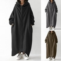 Winter Hooded Sweatshirt Coat ZANZEA Women Long Sleeve Outwe...
