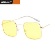 Óculos de sol 2021 Cool Metal Quadrado Mulheres Homens Liga Liga Ouro Quadro de Prata Rosa Lentes Oceano Amarelo Lentes Viajando