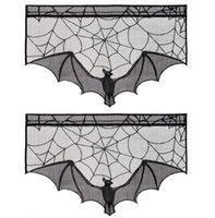 Хэллоуин черный кружевной занавес камин ткань черный кружевной летучей мыши паук