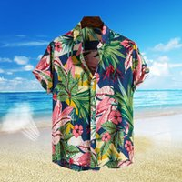 summer shirts chemisier mens fashion casual beach print blus...