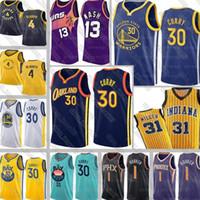 황금 상태전사들스티븐 30 카레 유니폼 찰스 34 Barkley Steve Basketball 13 Nash Reggie 31 Miller Victor 4 Oladipo Jerseys