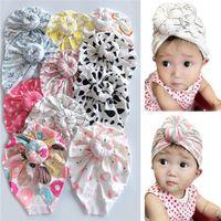 Bébé bébé Turban Chapeaux Donut Flamingo Print Bandeau Dessin animé Coton Bownot Boîtier Bonnet Neuf-Nual Turban Chapeau Enfants Casquettes Casquettes Bonnets 2021