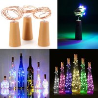 Akülü Garland Şarap Şişesi Işıkları ile Mantar 2 M 20 LED Bakır Tel Renkli Peri Işıkları Dize Parti Düğün Dekor Için