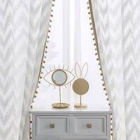 Moderne Wellenart Fenster Tüll Vorhang Pure White Villa Dekoration Lichtübertragungsvorhänge für Schlafzimmer Wohnzimmer Küche