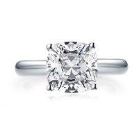 Mode 3.0 CT Kissen Schnitt Solitaire Ring 925 Sterling Silber Engagement Glänzende Stein Hochzeit Silber Ringe