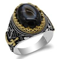 خاتم العقيق الطبيعي للرجال 925 الفضة الاسترليني عيون الشر الأحجار الكريمة السيف حلقات الرجال الإسلامية الشرق الأوسط المجوهرات الدينية هدية