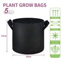 Bitki Büyümek Çanta Çiçek Kolu ile Çiçek Büyüyen Tencere 5 Galon Siyah Kalınlaşmış Dokunmayan Kumaş Ekici Potato Çilek Havuç Sebze