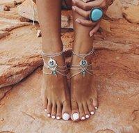Turquesa Beads Anklets Multicamadas Tassel Ankle Pulseira Pé Cadeia de Pé Jóias Barefoot Sandálias Sexy Beach Anklet PS1321