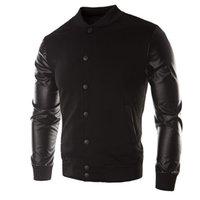 2021 Jaqueta Erkek Deri Patchwork Hoodies Düğme Temel Ceket Sonbahar erkek Bombacı Ceketler Mont Giyim Moda SPM8