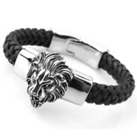 Hip Hop Leder Link Edelstahl Herren Armband Löwe Kopf Seil Vintage Modeschmuck Gold Farbe Zubehör Männliche Armbänder Y1130