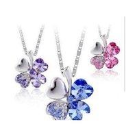 2014 heißer verkauf 10 farben österreich kristall vier blatt klee anhänger halskette mode frauen qualität choker versand schmuck großhandel snyshj