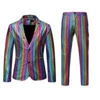 Arco-íris xadrez sequin sequina de homens dançarino fase performance blazer com calças discotavo festival festa noivo de casamento tuxedo traje w1217