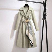 Trench de mujer Abrigos AirGracias Winter Woman 2021 Diseño único de la bufanda de seda con el cinturón elegante abrigo Casual Light Green Temperament OverCoat1