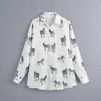 여성용 블라우스 셔츠 느슨한 여성 셔츠 블라우스 가을 2021 패션 동물 인쇄 긴 소매 플러스 사이즈 레이디 캐주얼 탑