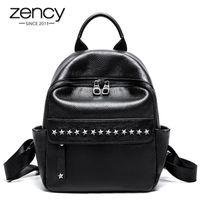 ZENCY 100% Мягкая кожа Натуральная Кожа Мода Дизайнер Женщины Рюкзак Классический Черный Knapsack Заклепки Дорожные Сумки Девочка Школьная сумка