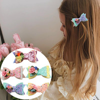 5 Renkler Kızlar Saç Barrettes Prenses Mermaid Sequins Çiçekler Yay Firkete Çocuklar Noel Saçlar Klipler Moda Aksesuarları 3YY G2