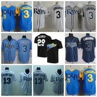 Retro Baseball 3 Evan Longoria Jersey 13 Carl Crawford 29 Fred McGriff 66 Don Zimmer 19 Aubrey Huff 1988 Vintage Azul Branco Branco Retire