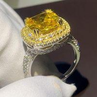 Brilho brilhando jóias de luxo 925 almofada de prata esterlina amarelo 5a zirconia cúbica pavimentar cz mulheres festa casamento anel y1128