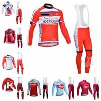Katusha Team Pro Cycling Mangas largas Jersey Bib Pantalones Sets MTB Ropa de carreras Ropa de bicicleta de manga larga Ropa para hombres 102623