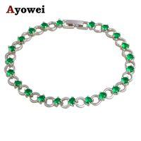 Charm Bracelets Style Wholesale Price Romatic Deep Green Peridot Silver Tone For Women Fashion Jewelry TBS1092A