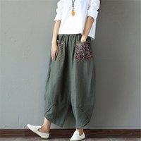 Sarouel Pantalon Femme Harem Hosen Boho Vintage Baumwolle Wäsche Wide Beinhose Frauen Hippie Hose Große Größe 2XL 201012