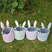 레트로 부활절 바구니 seersucker 토끼 귀 버킷 부활절 토끼 양동이 키즈 장난감 스토리지 바구니 계란 캔디 홀더 4 색 DHW2029