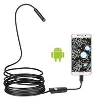 9pcs / lot 7mm Endoscope Camera flexible IP67 imperméable 6 LED ajustables Inspection Caméra Borecope micro USB OTG Type C pour PC Android PC