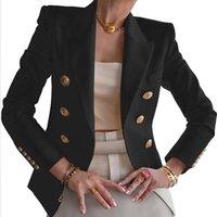 المرأة جاكيتات السيدات أزياء ربيع الخريف سليم دعوى نقية اللون الأعمال عارضة سترة قصيرة المرأة أبلى أعلى مزدوجة الصدر