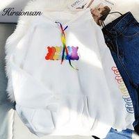 Hirsionan Rainbow Письмо Печатная Толстовка Женщины Kawaii Harajuku Пуловеры сгущающиеся теплые уличные толстовки Ориентированные Одикация1