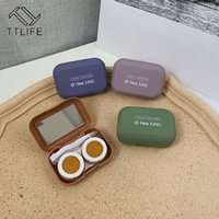 Custodia per lenti a contatto quadrato con specchio Donne con lenti a contatto colorate BOX New Glassed Mini Gomma Vernice per gli occhi Lente Container1
