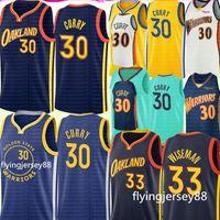 Yeni Stephen 30 Curry Jersey 2021 # 33 Wiseman Jersey Erkek Gençlik Çocuk Köri Basketbol Formaları Nakış