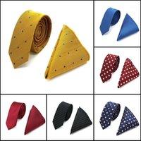 Yüksek kalite 5 cm erkek ipek boyun kravat seti (kravat mendil) ekose puantiyeli sıska ince dar bağları hanky düğün parti1