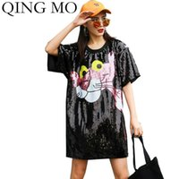Casual Dresses Qing Mo Black Silber Frauen Rosa Panther Kleid 2021 Voller Pailletten Weibliche Lose Glänzende ZQY3632