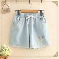Blumen Stickerei Denim Shorts Hight Taille Baumwolle Casual Femme Jeans Kurze elastische Wais Shorts 2020 Sommer Frauen P1475