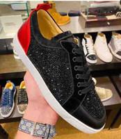Новые дизайны обувь красные дна младшие шипы Orlato мужские плоские тренажеры платформа черные горный хрусталь крепцы сливятся на кроссовки