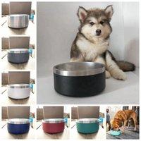 Cuencos antideslizantes para perros cuencos para perros de acero inoxidable de 32oz para mascotas Bowling Bowling Suministros para perros 7colors RRA3898