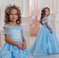 New Sky Blue Off Плечи Cute Pageant платья Короткие рукава Цветочный Кружева бальное платье принцессы Первое причастие платье девушки цветка младенца девушки