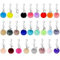 Imitation Rabbit Fur Ball Keychains Diamond Letter Pendant K...